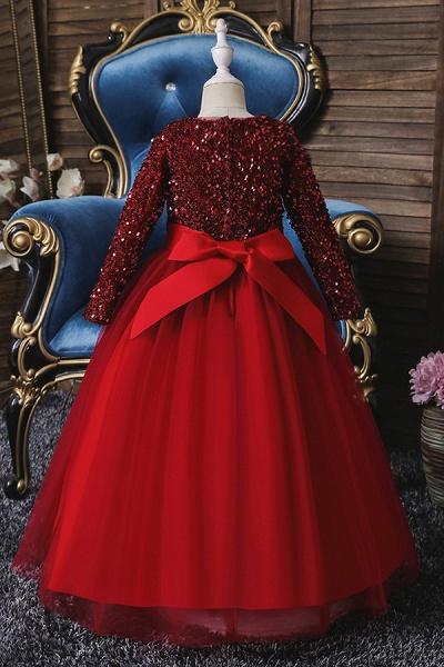 FS9973 Long Sleeve Sequins Burgundy Flower Girl Dress_7