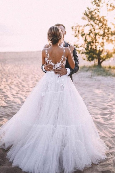 BC5667 Straps Lace V-neck Sheer A-line Boho Wedding Dress_3