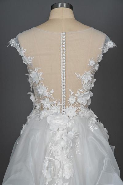 CPH251 Floral Appliques Cap Sleeve Jewel Ball Gown Wedding Dress_6