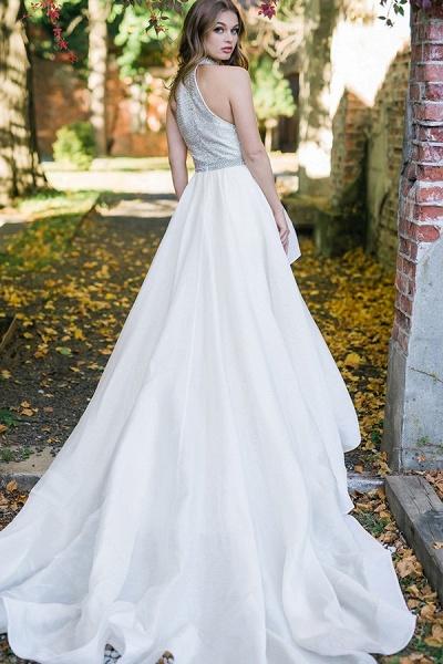 BC5739 Halter A-line Beadings Belts Wedding Dress_2