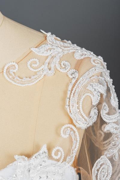 CPH246 Lace Long Sleeve Appliques Ruffles Ball Gown Wedding Dress_12