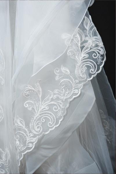 CPH246 Lace Long Sleeve Appliques Ruffles Ball Gown Wedding Dress_16