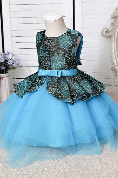FS9964 Ball Gown Scoop Appliques Flower Girl Dress_7