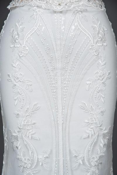 CPH248 Gergrous Lace Cap Sleeve Sheath Wedding Dress With Detachable Train_6