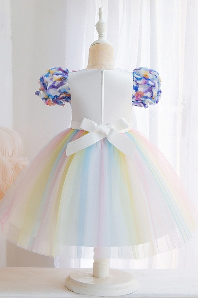FS9968 Scoop Short Sleeve Ball Gown Flower Girl Dress With Bow_5
