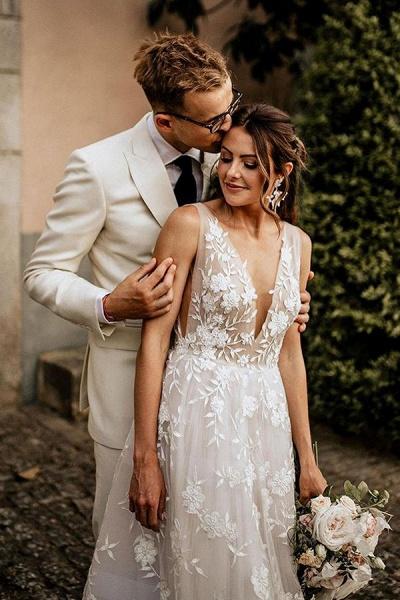 BC5797 Straps V-neck Appliques A-ine Boho Wedding Dress_2