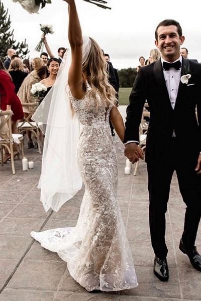 BC5801 Mermaid Spaghetti Straps Lace V-neck Jewel Wedding Dress_4