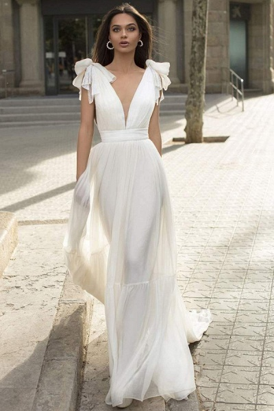 BC5744 Chiffon Bow Straps V-neck Sheath Wedding Dress_1