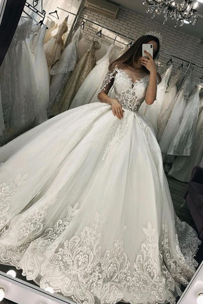 BC5662 Short Sleeve Appliques Sheer Tulle Ball Gown Wedding Dress
