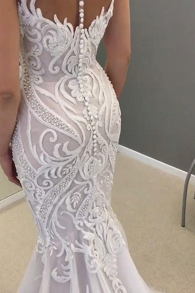 SD2137 Unique Sweetheart Mermaid White Long Wedding Dress with Lace Appliques_4