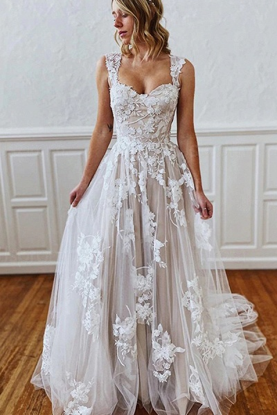 BC5743 Straps Sweetheart Appliques A-line Wedding Dress_1