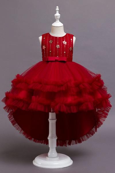 FS9977 Red Belt Tulle Ruffles Flwoer Girl Dress_2