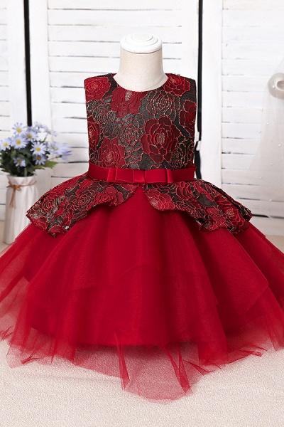 FS9964 Ball Gown Scoop Appliques Flower Girl Dress_2
