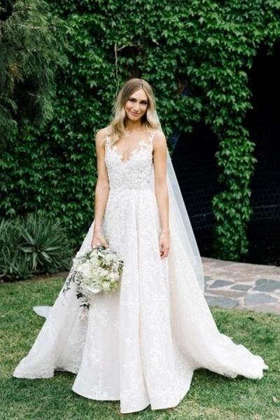 BC5663 Straps V-neck Floral Beads A-line Wedding Dress_6