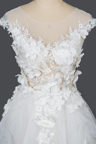 CPH251 Floral Appliques Cap Sleeve Jewel Ball Gown Wedding Dress_7