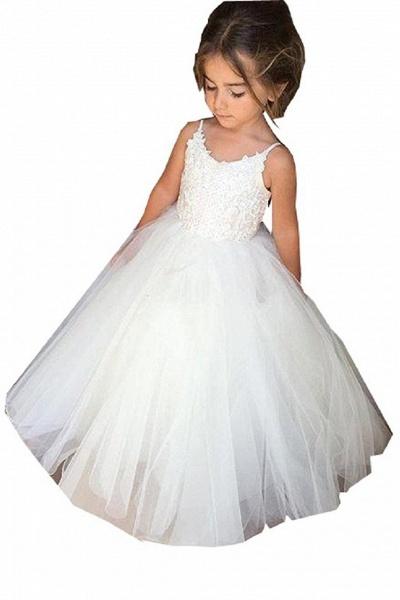 White Square Neckline Sleeveless Ball Gown Flower Girls Dress_1