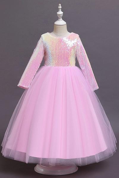 FS9969 Long Sleeve Sequins Tea Length Flower Girl Dress_1