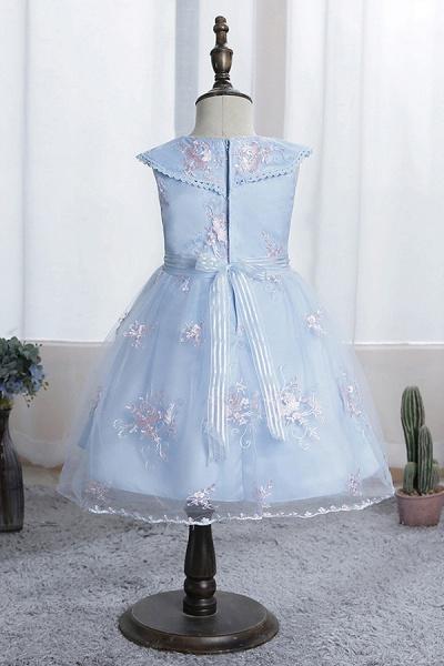FS9976 Blue Appliques Tulle Knee Length Flower Gril Dress_7