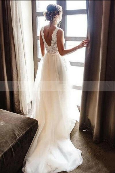 BC5747 Straps V-neck Lace Appliques A-line Backless Wedding Dress_2