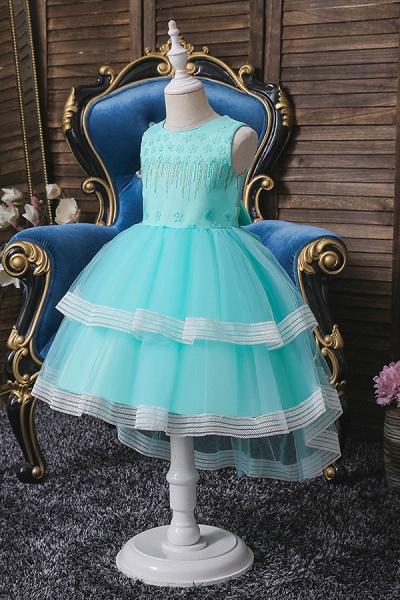 FS9972 Blue Ball Gown Tea Length Flower girl Dress_4
