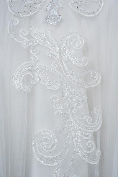 CPH246 Lace Long Sleeve Appliques Ruffles Ball Gown Wedding Dress_9