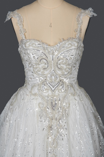 CPH249 Straps Sequins Sweetheart Pleated Ball Gown Wedding Dress_9