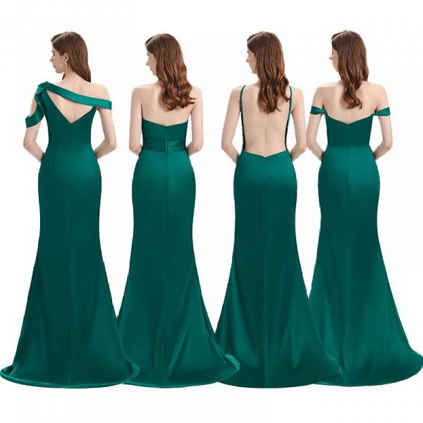 Dark Green Mermaid Side Split Bridesmaid Dresses Mixed Styles_7