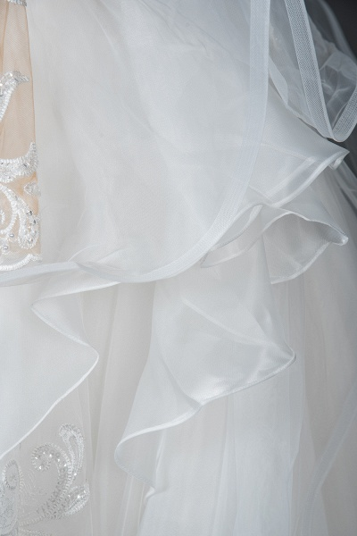 CPH246 Lace Long Sleeve Appliques Ruffles Ball Gown Wedding Dress_4