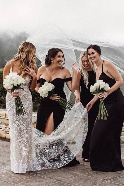 BC5801 Mermaid Spaghetti Straps Lace V-neck Jewel Wedding Dress_2