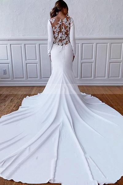 BC5750 Simple Long Sleeve Illusion Lace Back Sheath Wedding Dress_2