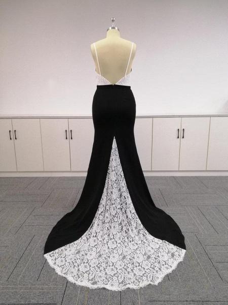 BA4780 Spaghetti Straps Mermaid Lace Satin Bridesmaid Dress_5
