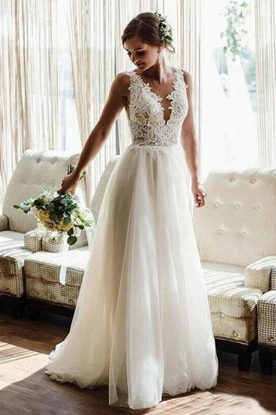 BC5747 Straps V-neck Lace Appliques A-line Backless Wedding Dress_1