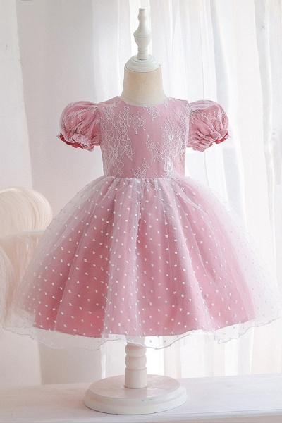 FS9967 Pink Short Sleeve Lace Flower Girl Dress_2