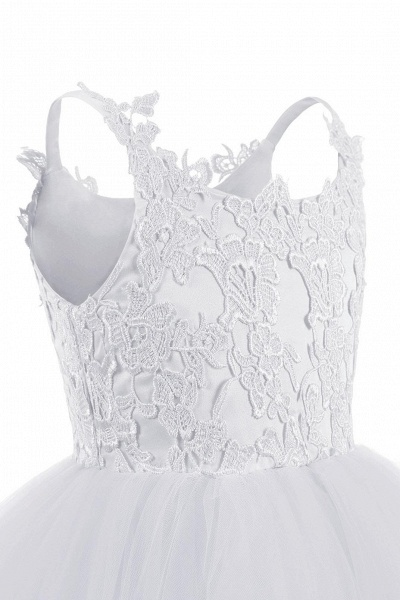 White Square Neckline Sleeveless Ball Gown Flower Girls Dress_10