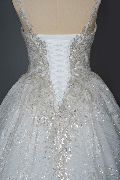 CPH249 Straps Sequins Sweetheart Pleated Ball Gown Wedding Dress_4