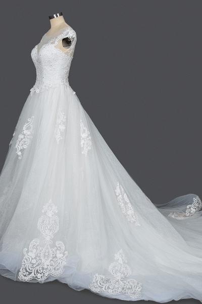 CPH245 Elegant Cap Sleeve Sheer Tulle Lace V-neck Ball Gown Wedding Dress_3