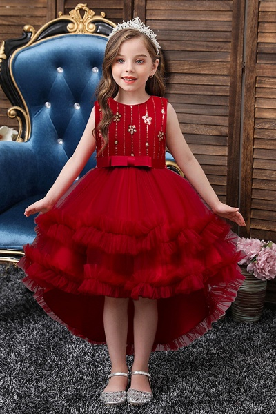 FS9977 Red Belt Tulle Ruffles Flwoer Girl Dress