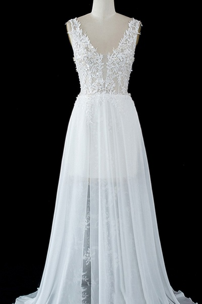 BC5671 Straps Lace Side Split Sheer Tulle A-line Wedding Dress