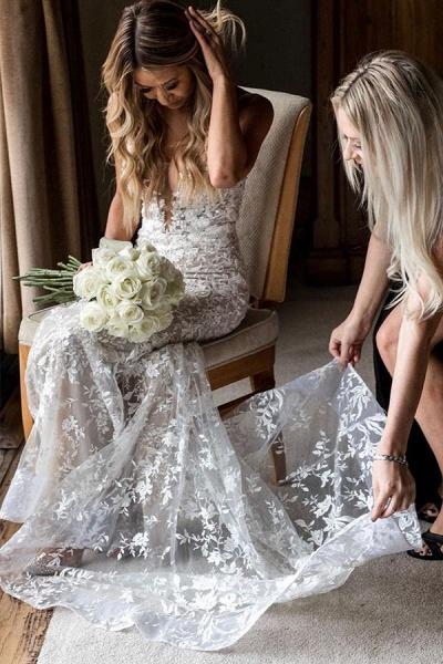BC5801 Mermaid Spaghetti Straps Lace V-neck Jewel Wedding Dress_5