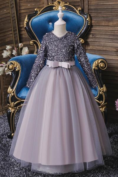 FS9973 Long Sleeve Sequins Burgundy Flower Girl Dress_3