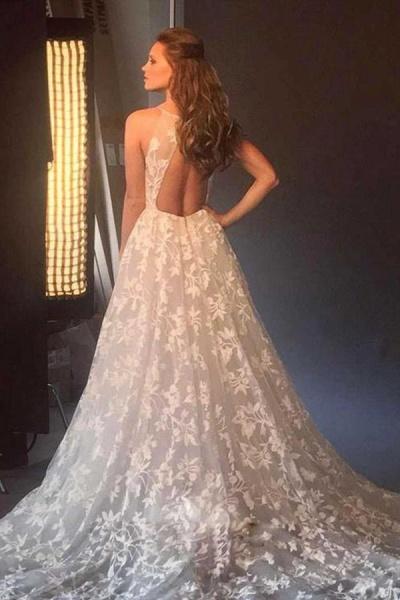 BC5670 Spaghetti Strap A-line V-neck Boho Wedding Dress_2