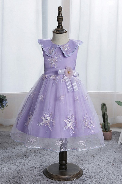 FS9976 Blue Appliques Tulle Knee Length Flower Gril Dress_4