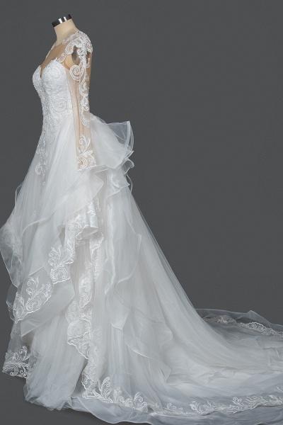 CPH246 Lace Long Sleeve Appliques Ruffles Ball Gown Wedding Dress_8