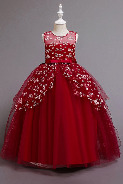 FS9981 Red Princess Belt Ball Gown Wedding Dress_2