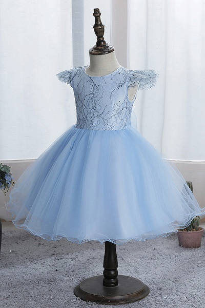 FS9974 Scoop Cap Sleeve Blue Flower Girl Dress_3