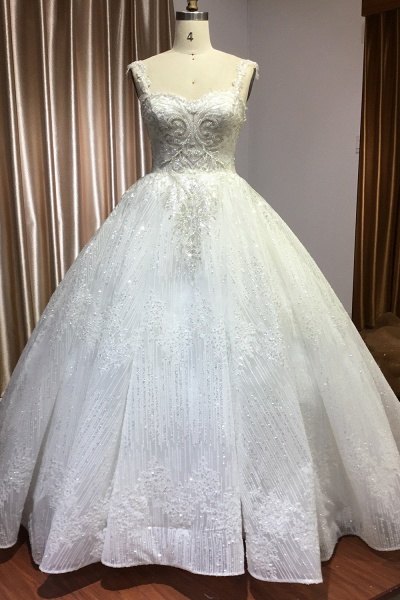 CPH249 Straps Sequins Sweetheart Pleated Ball Gown Wedding Dress_1
