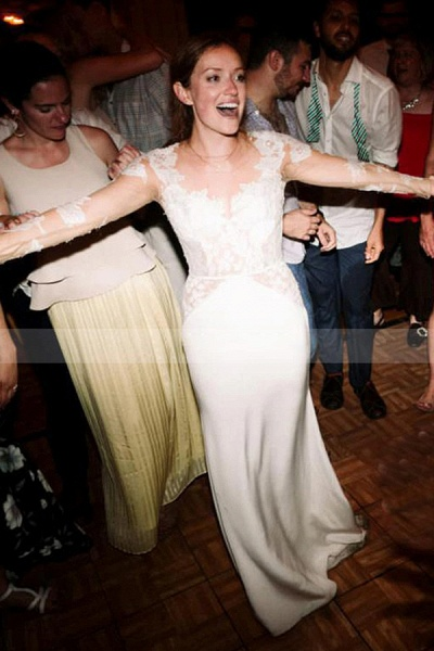 BC5746 Lace Long Sleeve Sheer Tulle A-line Floor Length Wedding Dress_4