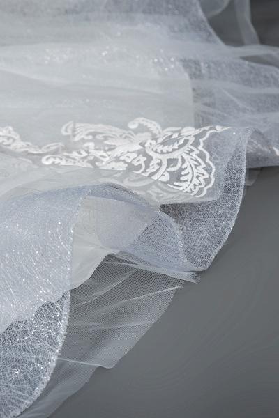 CPH245 Elegant Cap Sleeve Sheer Tulle Lace V-neck Ball Gown Wedding Dress_5