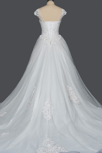 CPH245 Elegant Cap Sleeve Sheer Tulle Lace V-neck Ball Gown Wedding Dress_7