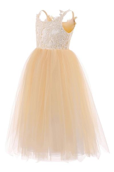 White Square Neckline Sleeveless Ball Gown Flower Girls Dress_8